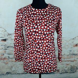 J. Crew S Rustic Rose Merino Tippi Sweater Hearts